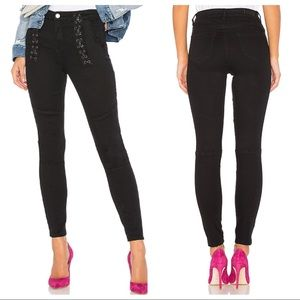 Blank NYC Darkroom Black Lace Up Skinny Jeans 26